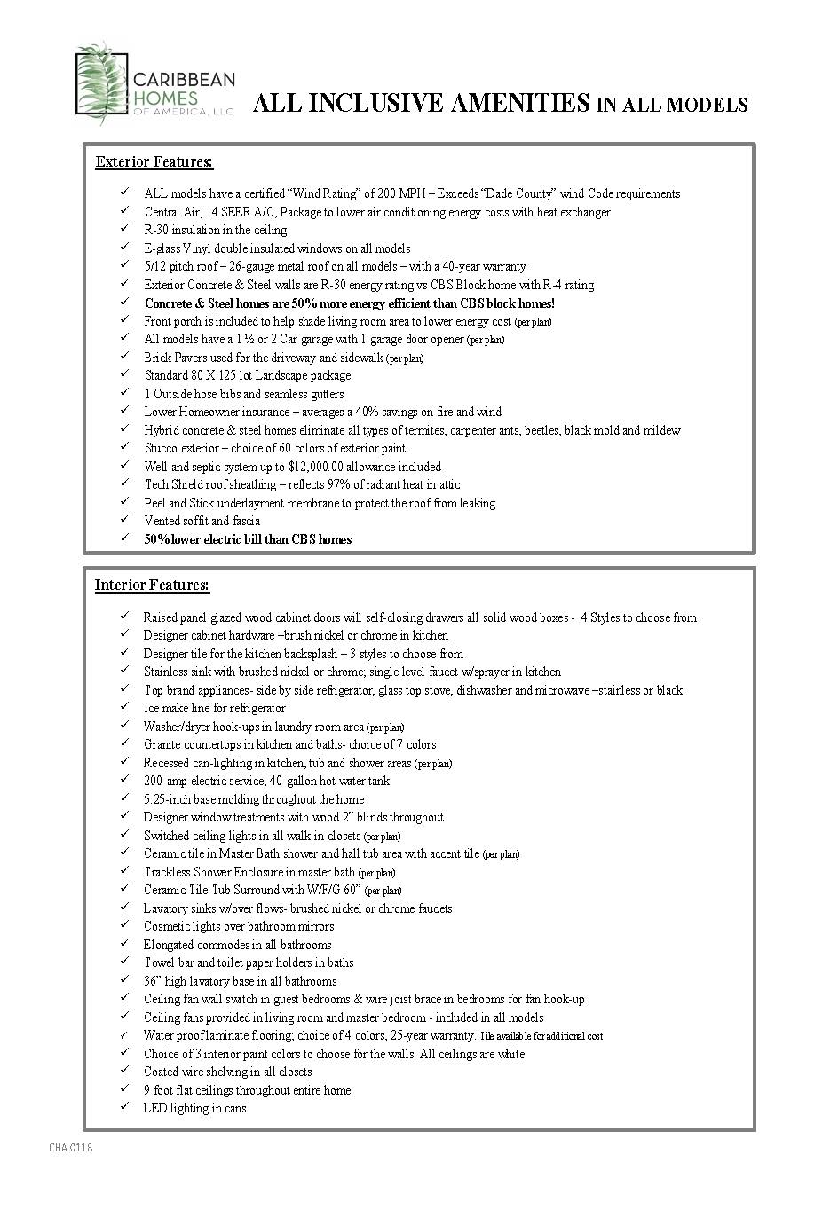 Amenities Standard List - 2018