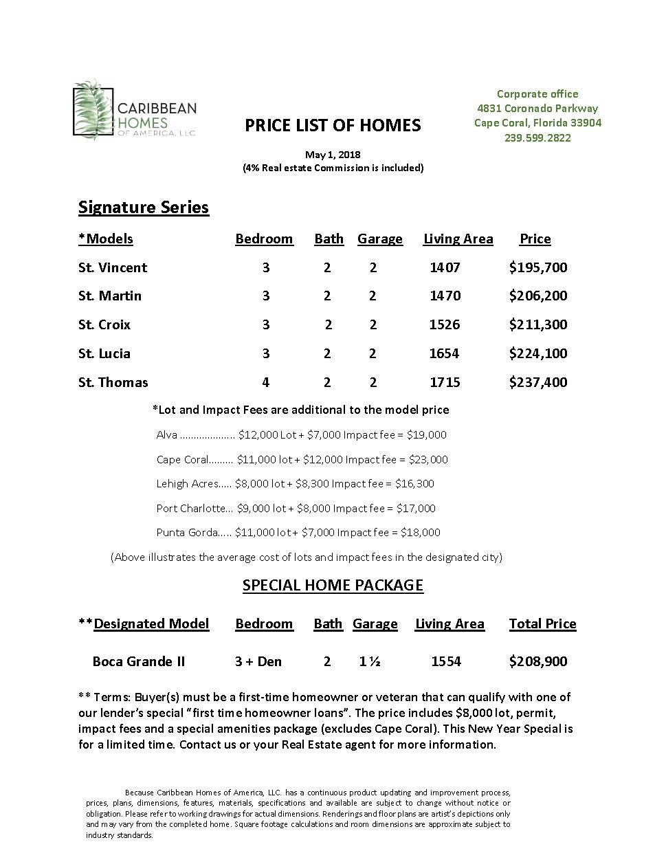 Signature Series Home Prices